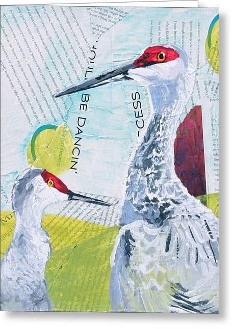 Sandhill Cranes Greeting Card by Shelley Overton