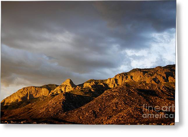 Greeting Card featuring the photograph Sandia Mountains by Gina Savage