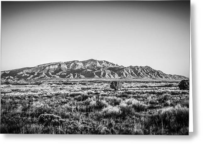 Sandia Mountains In Black And White Greeting Card