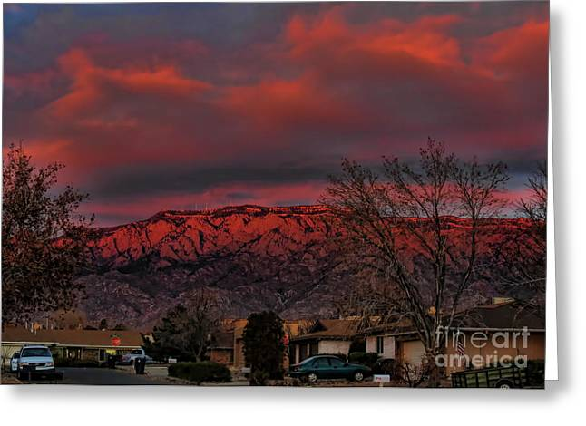 Sandia Moutains At Sunset Greeting Card