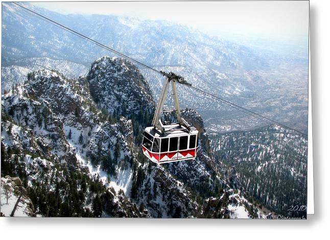 Sandia Tram Above The Snowy Peaks Greeting Card