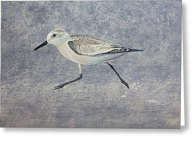Greeting Card featuring the painting Sandpiper by Stan Tenney