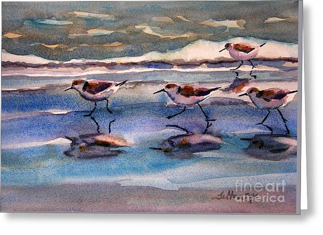 Sandpipers Running In Beach Shade 3-10-15 Greeting Card