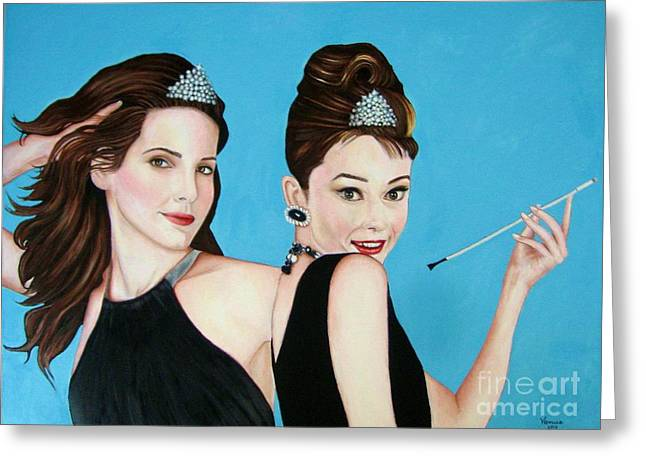 Sandra Bullock And Audrey Hepburn Greeting Card by Venus