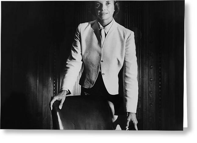 Sandra Day O'connor Posing Beside An Office Chair Greeting Card by Horst P. Horst