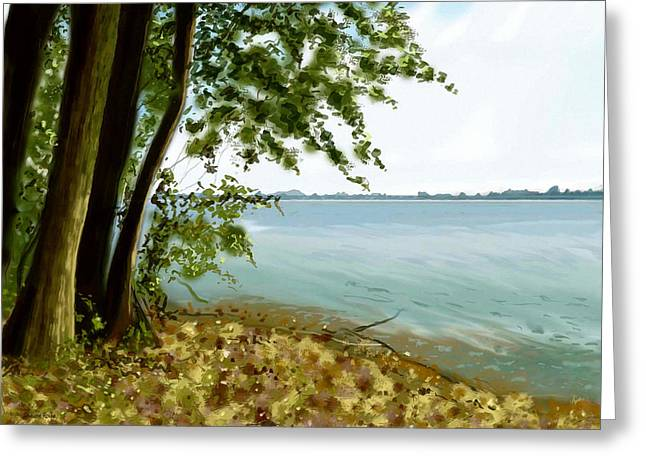 Greeting Card featuring the painting Sandusky Bay by Shawna Rowe