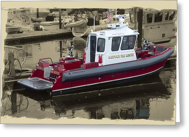 Sandwich Cape Cod Fire Rescue Boat Greeting Card