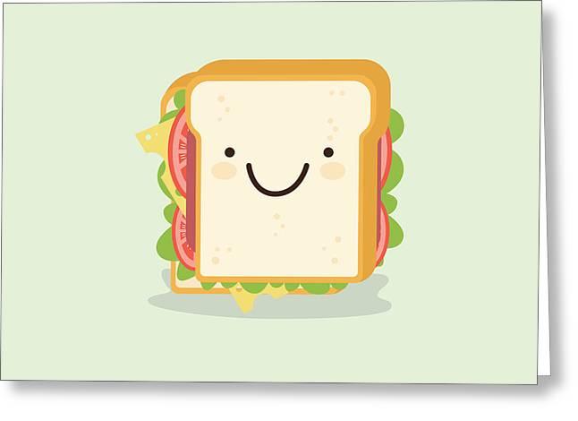 Sandwich Cartoon Vector Illustration Greeting Card