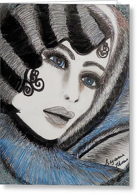 Sandy Art Deco Greeting Card by Suzanne Thomas