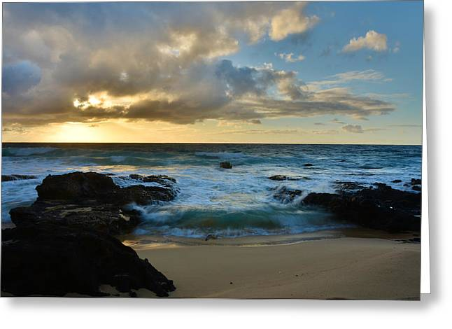 Sandy Beach Sunrise 5 - Oahu Hawaii Greeting Card