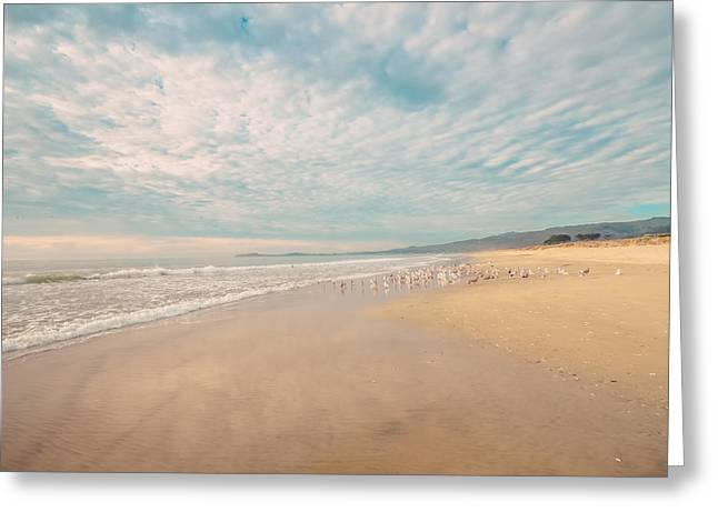 Sandy Beach With Soft Blue Sky Greeting Card by Lynn Langmade
