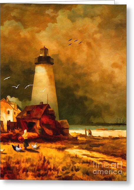 Sandy Hook Lighthouse - After Moran Greeting Card by Lianne Schneider