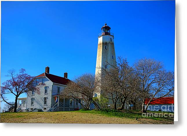 Sandy Hook Lighthouse And Keepers Quarters Greeting Card by Olivier Le Queinec