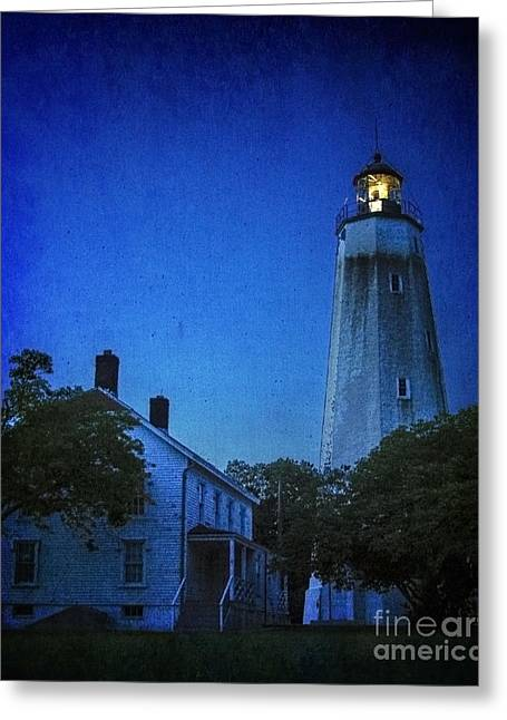 Greeting Card featuring the photograph Sandy Hook Lighthouse At Twilight by Debra Fedchin