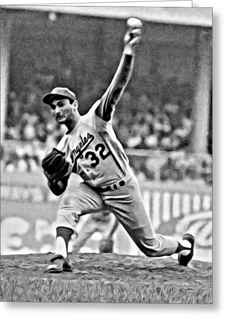 Greeting Card featuring the painting Sandy Koufax Throwing The Ball by Florian Rodarte