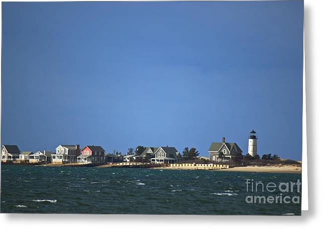 Sandy Neck Light Greeting Card by Amazing Jules