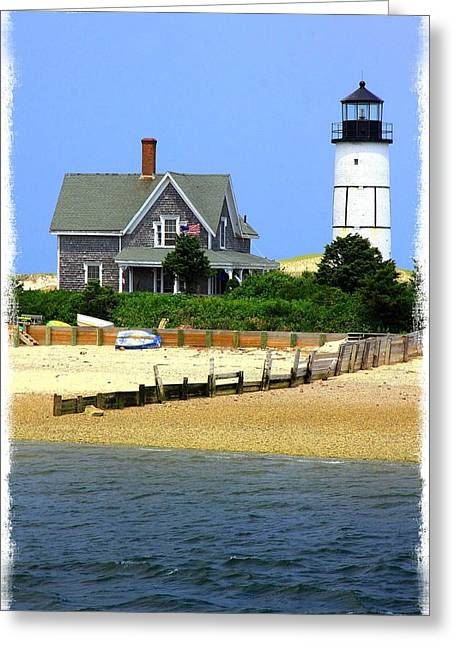 Sandy Neck Light Greeting Card by Stephen Stookey