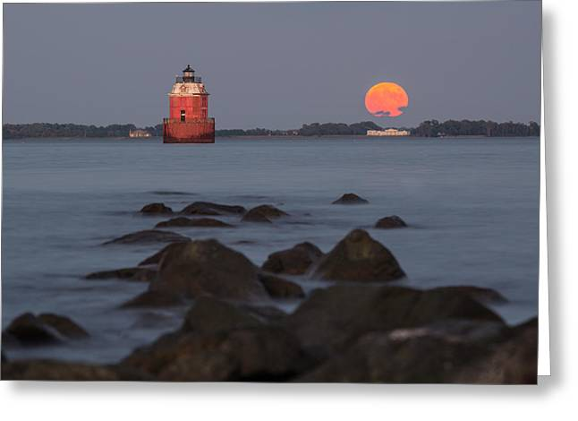 Greeting Card featuring the photograph Sandy Point Lighthouse Moonrise by Jennifer Casey