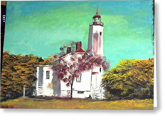 Sandyhook Light House Greeting Card by M Bhatt