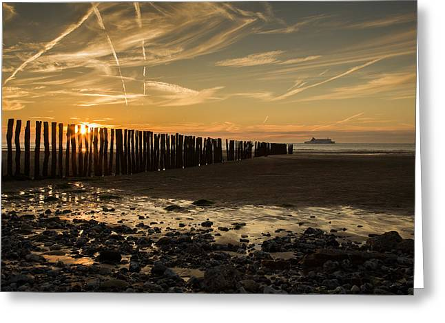 Greeting Card featuring the photograph Sangatte Beach At Sunset by Ian Middleton