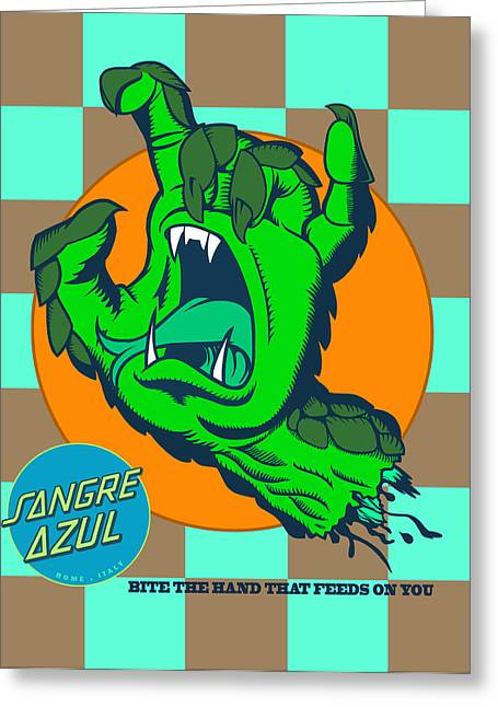 Greeting Card featuring the digital art Sangre Azul by Dedos