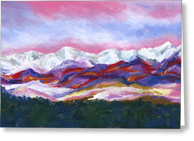 Greeting Card featuring the painting Sangre De Cristo Mountains by Stephen Anderson