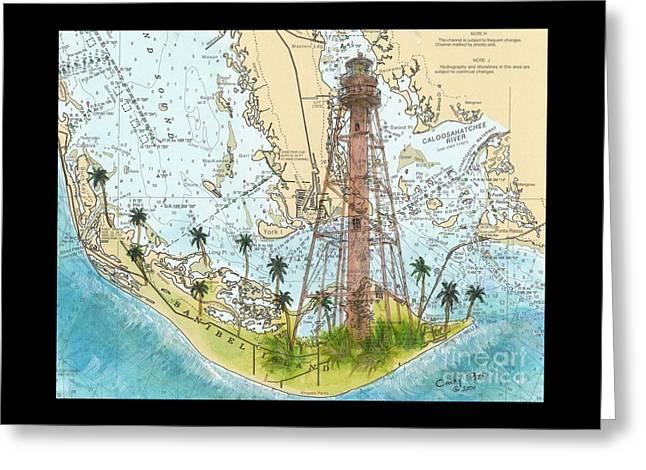 Sanibel Island Lighthouse Fl Nautical Chart Map Art Cathy Peek Greeting Card