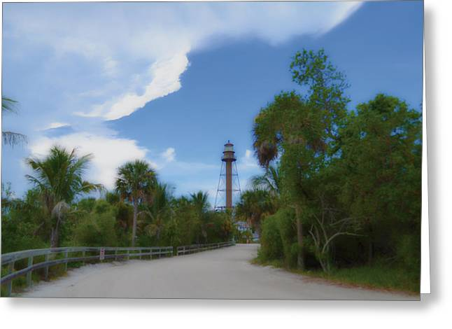 Greeting Card featuring the photograph Sanibel Lighthouse Road by Timothy Lowry