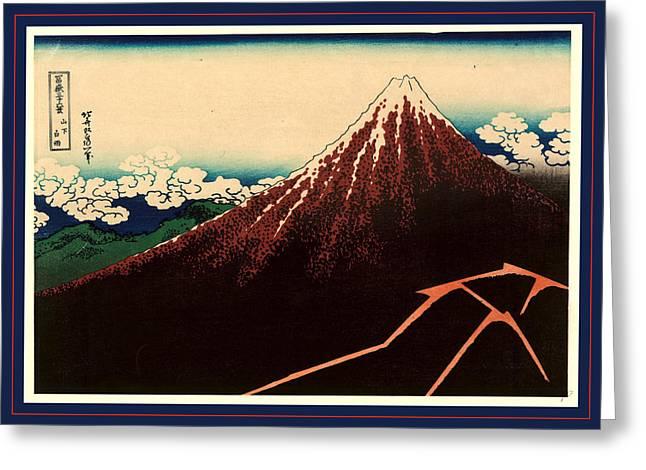 Sanka Hakuu, Shower Below The Summit. Between 1826 And 1833 Greeting Card