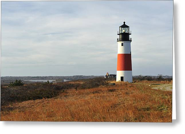Sankaty Head Lighthouse Nantucket In Autumn Colors Greeting Card by Marianne Campolongo