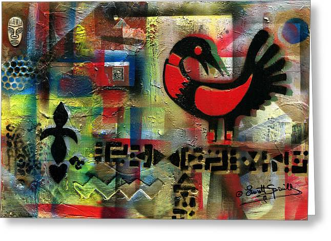 Sankofa - Learning From The Past Greeting Card by Everett Spruill