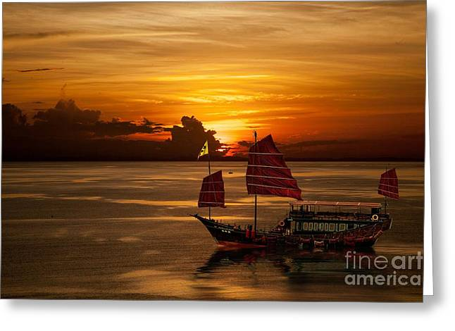 Sanpan Sunset Greeting Card