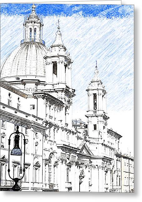 Sant Agnese In Agone Church Navona Square Rome Greeting Card