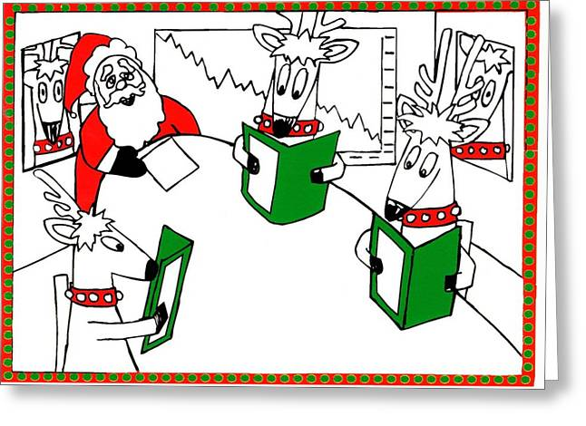 Santa And Reindeer Conference Greeting Card by Genevieve Esson