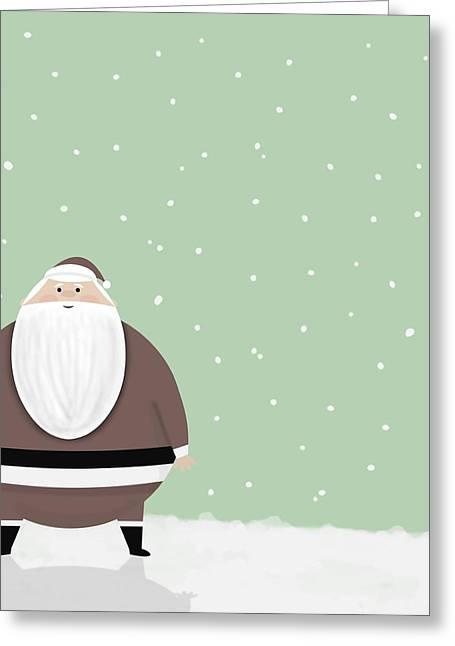 Santa And Snow Greeting Card