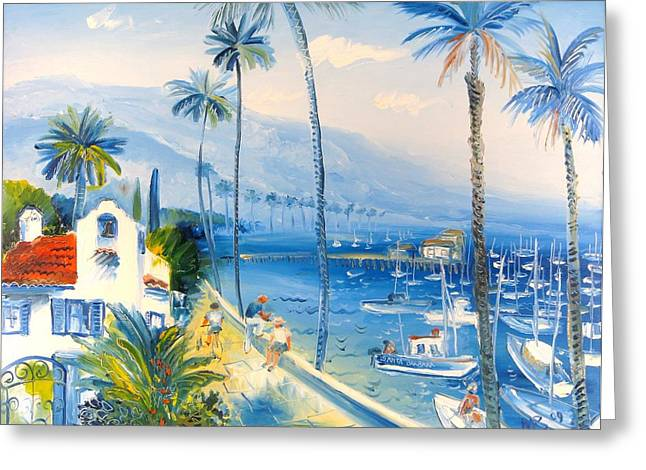 Santa Barbara Harbor Greeting Card