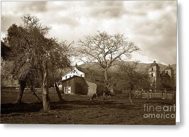 Santa Barbara Mission California Circa 1890 Greeting Card
