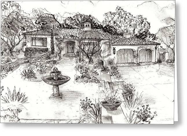Santa Barbara Spanish Cottage Greeting Card by Jeff Doubet