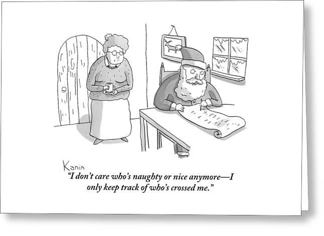 Santa Claus Angrily Crosses Off Names Greeting Card