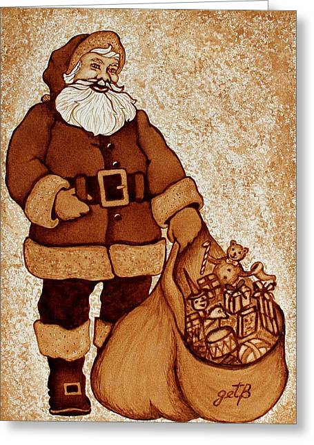 Greeting Card featuring the painting Santa Claus Bag by Georgeta  Blanaru