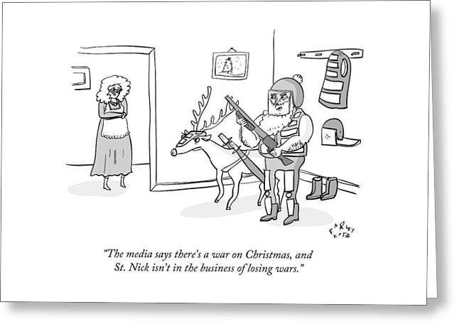 Santa Claus Holds An Assault Rifle Greeting Card