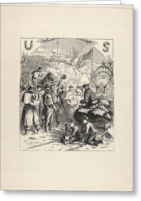Santa Claus In Camp Published Greeting Card by Thomas Nast