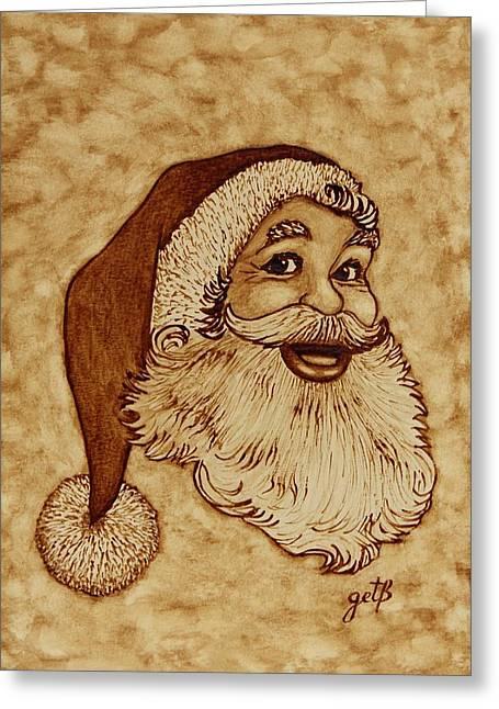 Santa Claus Joyful Face Greeting Card by Georgeta  Blanaru