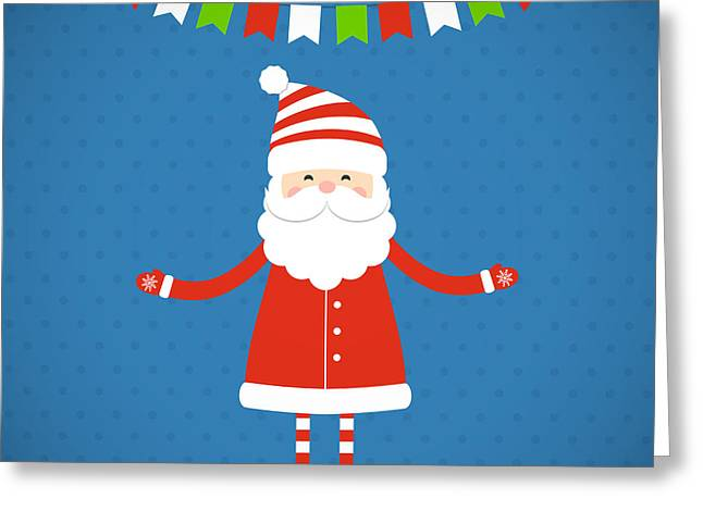 Santa Claus On A Blue Background Greeting Card