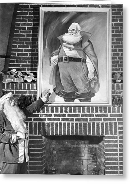 Santa Claus Portrait Uproar Greeting Card by Underwood Archives