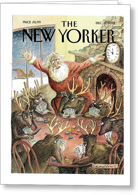 Santa Claus Rushed To Get His Reindeer Ready Greeting Card