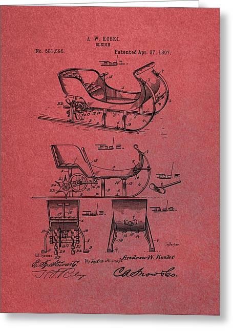 Santa Claus Sleigh Patent Red Greeting Card