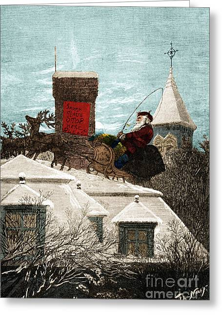 Santa Claus Stop Here Please 1889 Greeting Card by Photo Researchers
