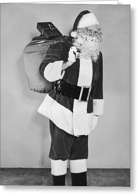 Santa Claus With Presents Greeting Card by Underwood Archives
