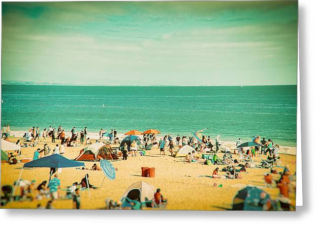 Santa Cruz Beach With Crowds On Hot Summer Day Greeting Card by Lynn Langmade